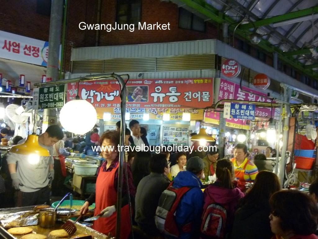 Food Stalls selling Bindaetteol Inside Gwangjang Market, near Dongdaemun, Seoul, Korea