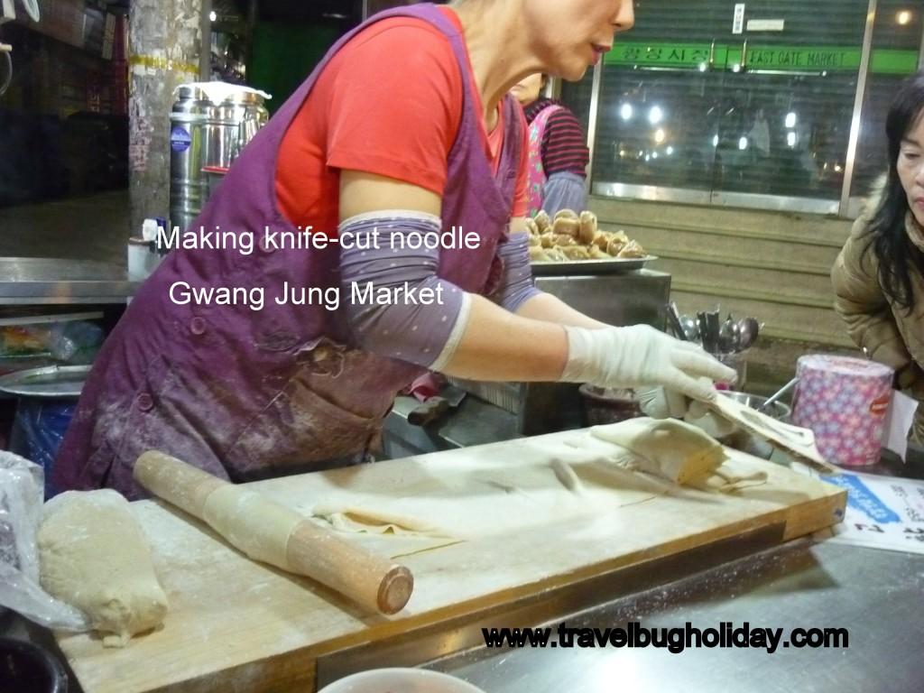 Knive cut Noodle inside Gwangjang Market near Dongdaemun, Seoul, Korea Korea