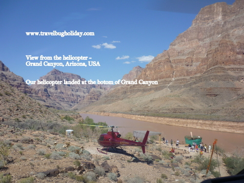 Helicopter Descending to the floor of the Grand Canyon, Arizona, USA